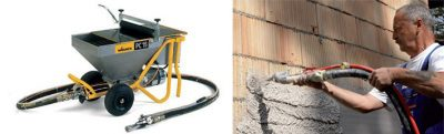 Станция для штукатурки цементным раствором из чего лучше строить из газобетона или керамзитобетона