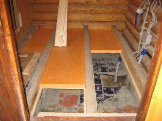 Утепление пола в моечном отделении бани